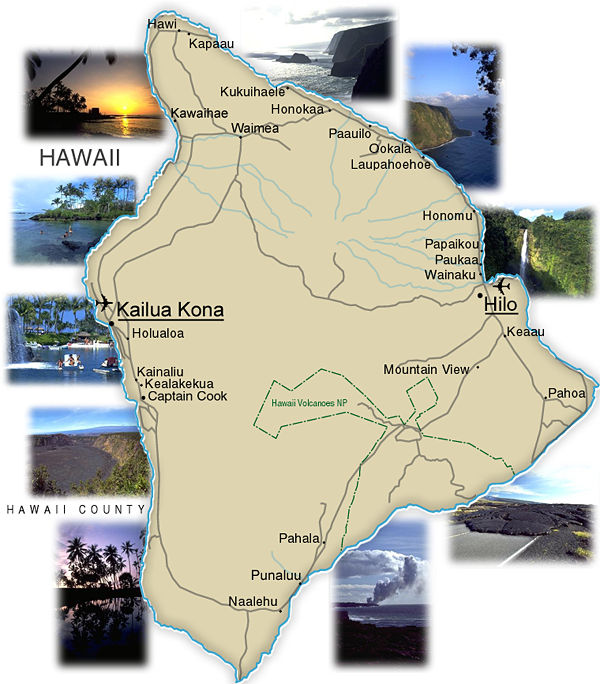Big Island of Hawaii - Map - Return to Hawaii Info